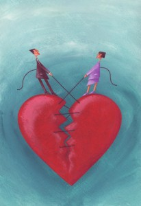 Couple Sewing Broken Heart Together --- Image by © Images.com/Corbis